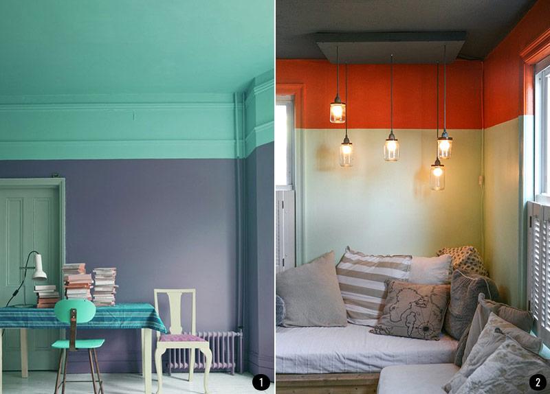 Pintar el sal n en dos colores ideas - Combinar colores para salon ...