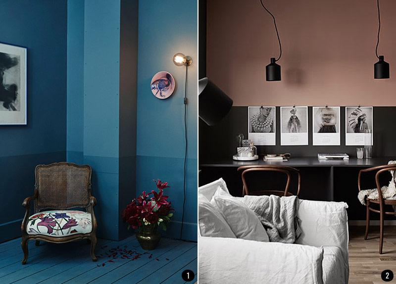 Pintar el salón en dos colores: ideas