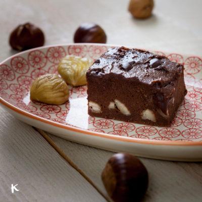 Brownie de boniato y castañas
