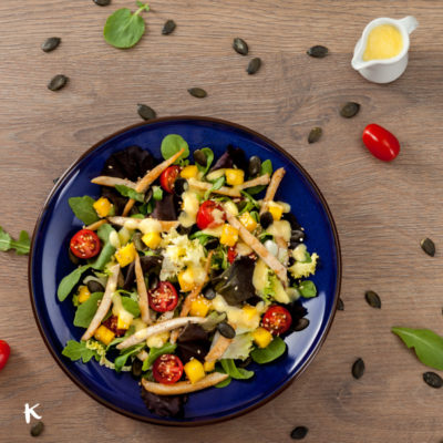 Exótica ensalada de pollo y mango