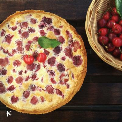 Tarta de cerezas y queso